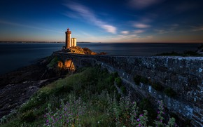 Picture road, sea, landscape, sunset, stones, shore, France, lighthouse, grass, Brittany, Phare du Petit Minou