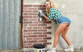 Picture girl, pose, wall, shorts, bucket, shirt, Sergey Gokk, Dasha Gusakova