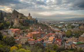 Picture building, home, panorama, the ruins, Georgia, Tbilisi, The Church Of St. Nicholas, Old Tbilisi, Narikala …