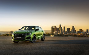 Picture sunset, the city, Audi, crossover, 2020, RS Q8