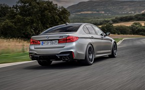 Picture grass, grey, vegetation, BMW, back, sedan, roadside, 4x4, 2018, four-door, M5, V8, F90, M5 Competition