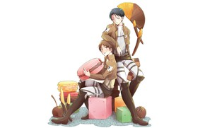 Picture food, anime, art, Sweets, guys, Shingeki no Kyojin, Eren, macaroon, Attack of the titans, Levi, …