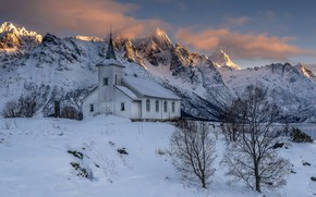 Picture winter, the sky, light, snow, trees, mountains, rocks, shore, tops, the building, Norway, Church, the …