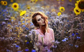 Picture look, girl, sunflowers, red, flowers, Melanie Dietze