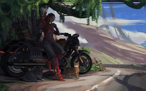 Picture Girl, Figure, Cats, Motorcycle, Cats, AND BE, Jinheng LI, by Jinheng LI, Practice-22