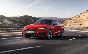 Picture road, mountains, red, Audi, speed, track, Sedan