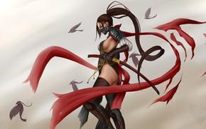 Picture girl, weapons, ninja