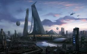 Picture the city, future, building, skyscrapers, sci-fi art