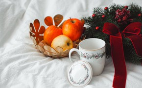 Picture branches, berries, holiday, apples, Christmas, mug, white background, New year, fabric, fruit, orange, bow, needles, …