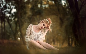 Picture trees, pose, Park, model, portrait, makeup, hairstyle, blonde, beauty, sitting, on the grass, nature, bokeh, …