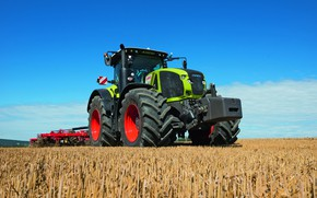 Picture field, the sky, work, tractor, cabin, wheel, Claas, Claas Axion 950, agricultural machinery, cultivator