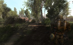 Picture trees, weapons, village, the ruins, Stalker, weapons, S.T.A.L.K.E.R