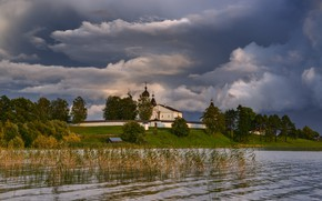 Picture summer, Russia, the monastery, storm clouds, Ferapontovo, photographer Maxim Evdokimov