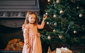 Picture look, room, balls, toys, tree, child, Christmas, girl, New year, garland