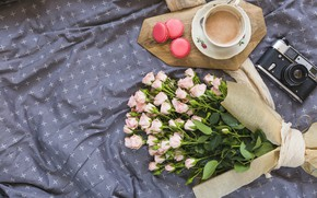 Picture flowers, roses, bouquet, pink, pink, flowers, beautiful, romantic, coffee cup, roses, macaron, a Cup of …