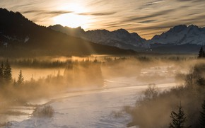 Picture winter, forest, the sun, clouds, rays, light, mountains, fog, tops, morning, Alps, panorama