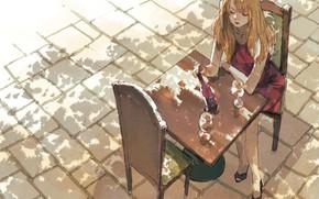 Wallpaper girl, cafe, table, macadam