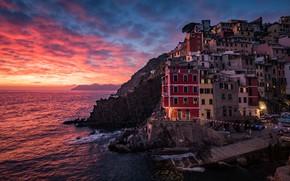 Picture sea, the sky, clouds, landscape, sunset, the city, people, rocks, shore, coast, Windows, building, home, …
