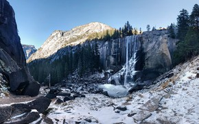 Picture the sky, snow, trees, mountains, nature, stones, rocks, waterfall, USA, Yosemite, Vernal Fall