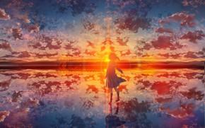 Picture water, girl, sunset, train, schoolgirl