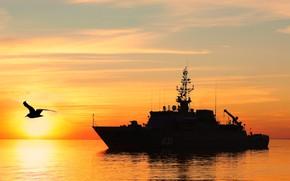 Picture ship, the evening, mine, Георгий Курбатов