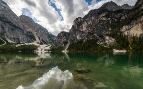 Picture forest, clouds, mountains, lake, reflection, rocks, shore, ate, pond