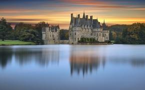 Picture water, landscape, nature, pond, Park, reflection, castle, France, the evening, Chateau de la Bretesche, British, …