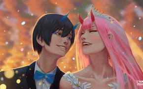 Picture wedding, Hiro, Darling in the FranXX, Zero Two, by hector026