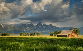 Picture greens, field, summer, the sky, grass, clouds, landscape, mountains, nature, house, space, haze, house, USA, …