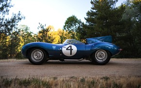 Picture room, side view, racing car, Jaguar D-Type