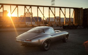 Picture The sun, Grey, Jaguar E-Type, Sports car