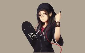 Picture girl, style, headphones, skateboard