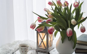 Picture table, books, coffee, candle, bouquet, Cup, tulips, vase