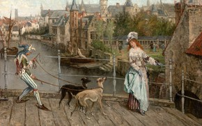 Picture Belgian painter, Belgian painter, oil on canvas, Along the Diver in Bruges on Shrove Tuesday, …