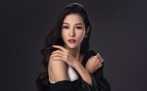 Picture look, hands, brunette, Asian