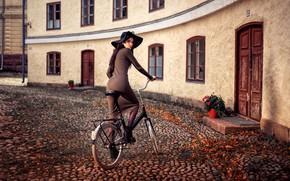 Picture look, girl, bike, pose, house, model, portrait, hat, makeup, figure, slim, dress, brunette, hairstyle, yard, …