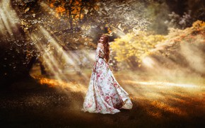 Picture look, girl, rays, nature, pose, garden, dress, beautiful, Melanie Dietze