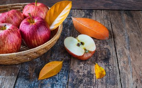 Picture autumn, leaves, apples, wood, autumn, leaves, fruits, autumn, apples