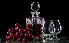Picture glass, table, wine, bottle, glasses, grapes, bunch, alcohol, drink, black background, decanter