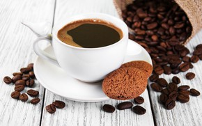 Picture coffee, cookies, Cup, coffee beans, oat, Olena Rudo