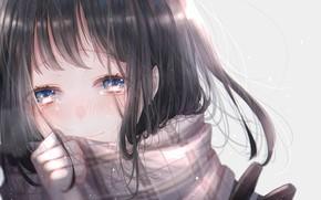 Picture look, scarf, girl, tears, ichijiku