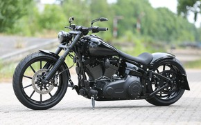 Picture Harley-Davidson, Custom, Motorcycle, Breakout, Thunderbike, Completely Black