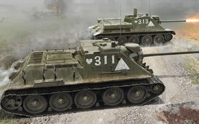 Picture Poland, SU-85, Self-propelled artillery, Vladimir Booth, The Polish Army, Early Production Mod.1944, the average weight …