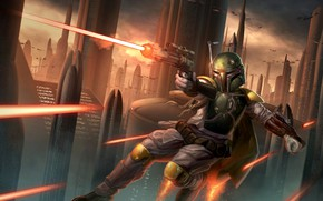 Picture Figure, The city, Star Wars, Battle, Costume, Art, Shot, Star Wars, Attack, Boba Fett, Equipment, …