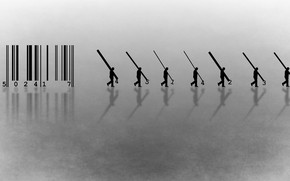 Picture background, barcode, silhouettes