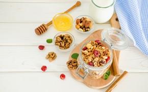 Picture berries, Breakfast, honey, jar, muesli, yogurt