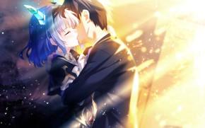 Picture girl, kiss, tears, guy, games, anime, art, horns, The World's End Fallen Star