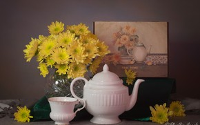 Picture flowers, style, picture, kettle, Cup, still life, chrysanthemum, yellow