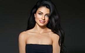 Picture look, girl, face, smile, model, hairstyle, blue eyes, Beautiful, photoshoot, brunette, Ryabusjkina Irina