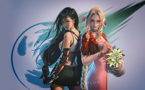 Picture fantasy, game, girls, digital art, artwork, fantasy art, Final Fantasy VII, simple background, Tifa Lockhart, …